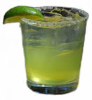 A Margarita with salt on the rim of the glass