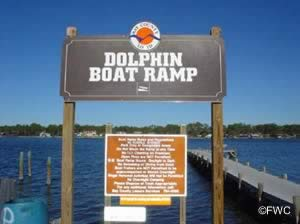 sign at dolphin boat ramp bay county florida