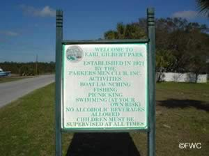 sign at earl gilbert park in bay county florida