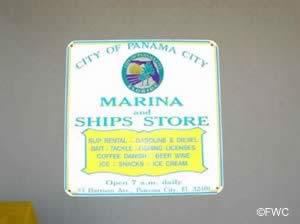 sign at panama city marina