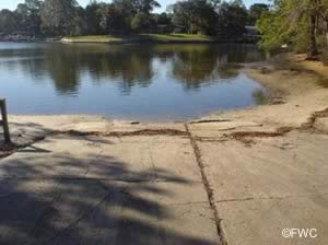 shoreline circle boat launching ramp on pretty bayou
