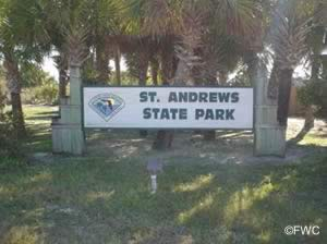 sign at entrance to st andrews state park in panama city
