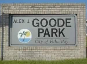 sign at alex j goode park palm bay