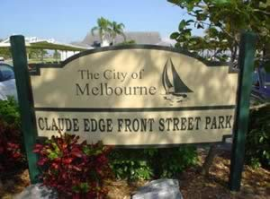 sign at claude edge front street park boat ramp