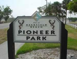 deerfield beach pioneer park sign
