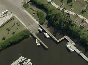 aerial of laishley park boat ramp
