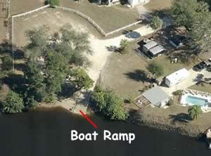 riverside boat ramp aerial view