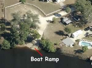 riverside boat ramp aerial view