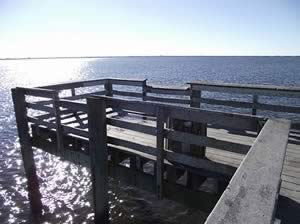 end of the fishing pier at bayshore park in charlotte harbor