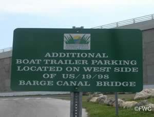 additional parking sign at cross florida greenway boat launching ramp in crystal river