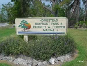 sign at homestead bayfront park and boat ramp