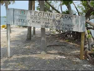 sign at legion park boat ramp
