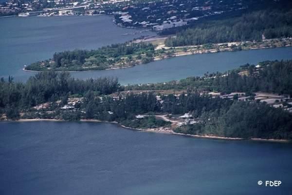 aerial view oleta state park florida