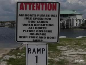 airboat sign at Butler Douglas Memorial ramp