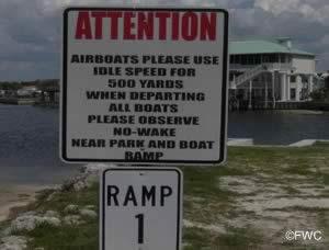 airboat sign at Butler Douglas Memorial ramp