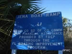 entrance sign at jena public boat ramp