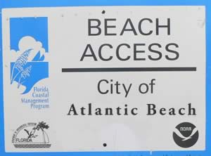 signs designating atlantic beach access points