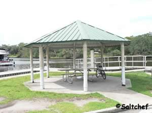 small pavilion at curtis lee johnson boat ramp