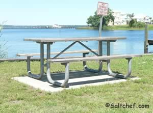 picnic tables at governors creek boat ramp