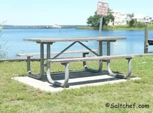 picnic tables at governors creek boat ramp