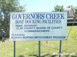sign at governors creek boat ramp green cove springs fl