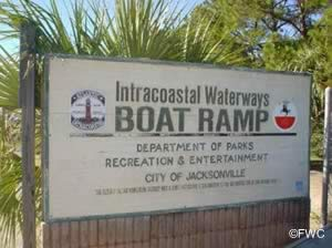 sign at the intercoastal waterway boat ramp jacksonville fl