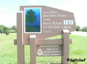 sisters creek marina sign is also jim king boat ramp
