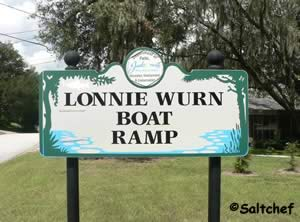entrance sign to lonnie wurn boat ramp jacksonvile