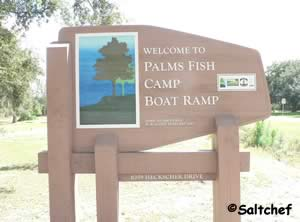 entrance to palms fish camp boat ramp off hecksher