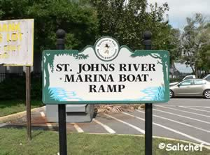 entrance sign to st johns marina boat ramp jacksonville florida