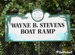 sign at wayne stevens boat ramp jax florida