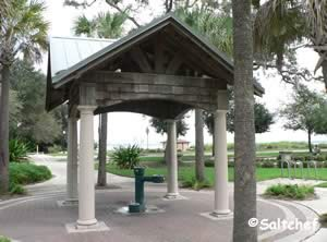 drinking fountain under gazebo at stinson park