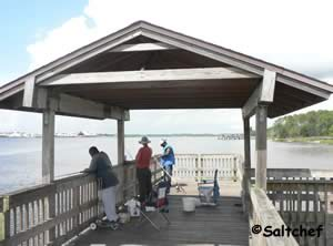 shade structure at end of blue cypress park pier