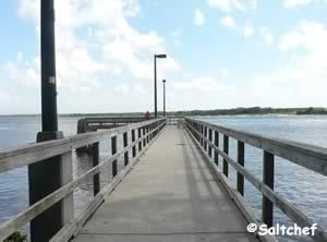fishing pier under dames point bridge