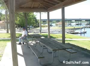 picnic pavilion at knight fishing pier clay county