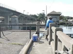 tom likes fishing at the old bridge