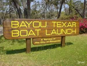 entrance to the bayou texar boat ramp