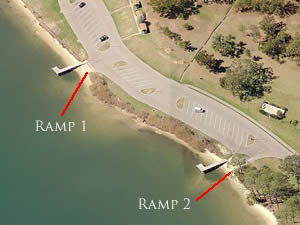 aerial view of texar bayou from bayview park and boat ramp