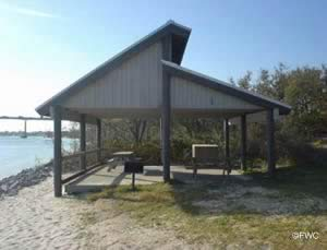 picnic pavilions near boat ramp in big lagoon state park