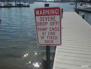 ramp warning sign at shipyard ramp bayou chico pensacola