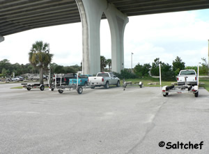 parking for trailers at Moody boat ramp