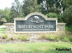 entrance sign at waterfront park