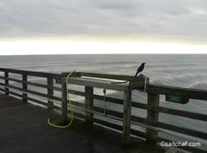cleaning table at flagler pier