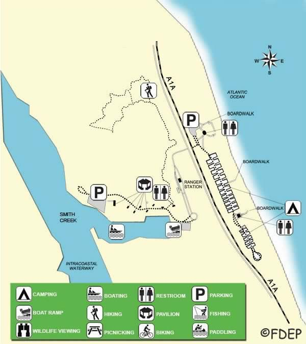 map of gamble rogers state park