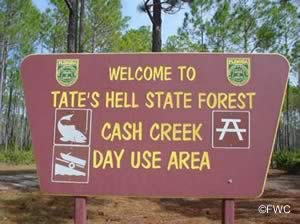 cash creek tates hell state forest boat ramp sign
