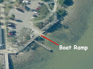 aerial view of ballast point boat ramp