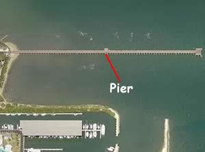 aerial view of ballast point fishing pier