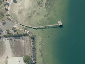 aerial picnic island park fishing pier