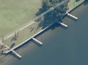 aerial of fishing piers at river crest park