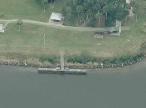 aerial view of riverview park fishing dock